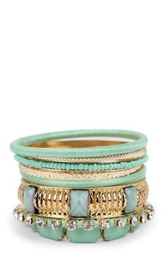 Deb Shops #Mint Multiple Bangles Set with Stones and Beads $8.17