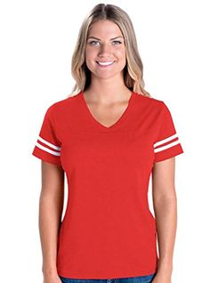 Special Offer: $7.99 amazon.com Basic and beautiful meet fashion in these ladies football tees, featuring a variety of colors. These short sleeve t-shirts for women feature a slightly longer length with contoured styling to fit your body and keep up with today's style. Looks great on...