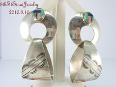 Estate Ben S. Navajo Sterling Silver 925 Gem Inlay Door Knocker Hoop Earrings…