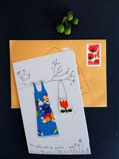 Inspiration: fabric dress cards by Papillon clic clac - des robes sur des cartes.