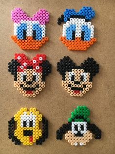 Andersine, Anders And, Minnie, Mickey Mouse, Fedtmule og Pluto Easy Perler Bead Patterns, Melty Bead Patterns, Perler Bead Templates, Diy Perler Beads, Perler Bead Art, Beading Patterns, Hama Beads Disney, Perler Bead Disney, Hamma Beads Ideas