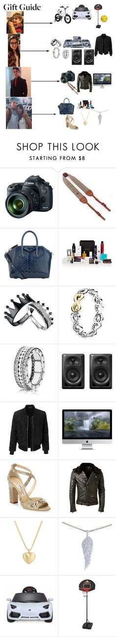 """""""I work hard so I can treat the people who mean the most to me"""" by ilikedis ❤ liked on Polyvore featuring Canon, Givenchy, Beauty Box, Pandora, LE3NO, Jimmy Choo, BLK DNM, Finn, Garrard and Royalbaby"""