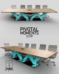 Designed & Fabricated in Illinois by the DiVito brothers. Modern Wood Furniture, Modern Desk, Steel Furniture, Industrial Furniture, Contemporary Furniture, Furniture Design, Office Space Decor, Conference Table, Innovation Design