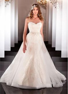 Buy discount Gorgeous Satin & Tulle A-line Sweetheart Neckline Wedding Dress With Lace Appliques & Beadings at Dressilyme.com by DressilyMe