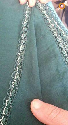 Needle lace [] # # İğne oyası [] # # Needle lace [] # # by - Crochet Unique, Crochet Lace, Lace Top Dress, Crochet Decoration, Knit Shoes, Sunflower Tattoo Design, Crochet Borders, Needle Lace, Thread Work