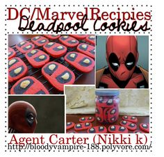 """""""DC/Marvel Recipes: Deadpool Cookies! -Agnt Carter"""" by lady-liberators ❤ liked on Polyvore featuring kitchen and tipsbynik"""