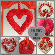 25 Valentine's Day Wreaths {DIY Decor}...I need to make a few of these...lol! #valentine's #diy #wreath
