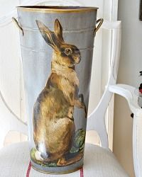 Limited Edition French Metal Flower Bucket French Hare Bleu