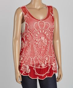 Look at this Simply Irresistible Red & White Embroidered Scoop Neck Tank - Plus on #zulily today!
