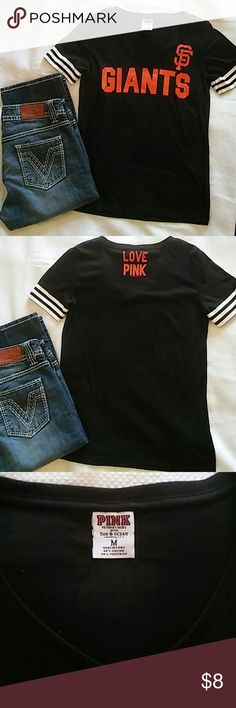 PINK VS SF Giants t-shirt ~ M Black San Francisco Giants t-shirt has stripes on the sleeves and v-neck. Never worn but it has been washed one time no dryer. PINK Victoria's Secret Tops Tees - Short Sleeve