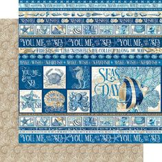 8 Sheets Graphic 45 Ocean Blue 12x12 Paper Collection 8 | Etsy Beach Scrapbook Layouts, Scrapbook Paper, Graphic 45, Mixed Media Scrapbooking, Blue Beach, Friends Are Like, Cozumel, Kauai, Marine Life
