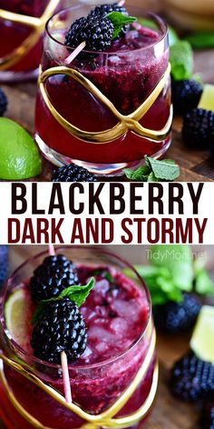 Prepare yourself for the weekend with a refreshing Blackberry Dark and Stormy. Light and fruity, and just boozy enough to make the perfect summer drink. Print the full recipe at TidyMom.net #cocktail #blackberry #rum #gingerbeer #darknstormy via @tidymom
