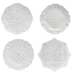 """Juliska Jardins du Monde Dessert Plate Set 9.5""""D (clockwise from top left) Landriana, Heligan, Alcazar, Villandry S/4 168"""