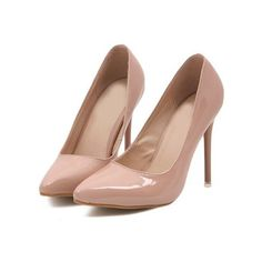 Nude Point Toe High Heeled Pumps ($40) ❤ liked on Polyvore featuring shoes, pumps, platform shoes, pointed-toe flats, flat shoes, nude high heel pumps and high heel pumps