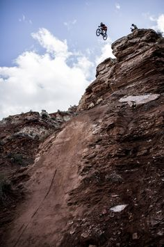 Insane drop off! In Virgin, Utah. Cameron Zink of the USA in action during practice for Red Bull Rampage freeride event