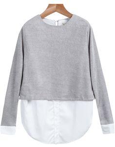 Blusa Crop cuello redondo manga larga-gris 12.87