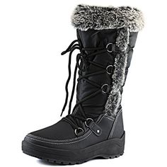 Women's DailyShoes Knee High Lace Up Warm Fur Water Resistant Eskimo Snow Boots, 7