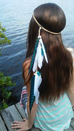 Turquoise Princess - Feather headband, native american, indian headband, hippie headband, bohemian headband, wedding veil, feather veil