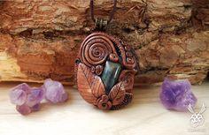 Celtic Spiral Pendant Labradorite Gemstone by ClaneralAmulet
