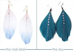 ASOS Feather Gem Drop Earrings >> via Quiet Lion Creations >> This is such a cute, easy idea! You could dip dye feathers to be a certain color scheme, and the gems would be easy to glue on :-)