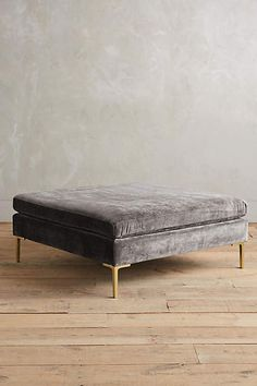 Slub Velvet Edlyn Grand Ottoman - anthropologie.com