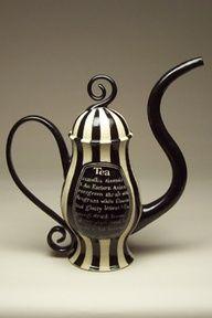 Stripey Black and White Teapot. Original link http://www.turningbullpottery.com/pots/teapots.html