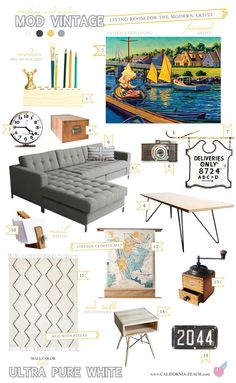 California Peach: Mod Vintage - Living Room - Featured Artist Anthony Montanino