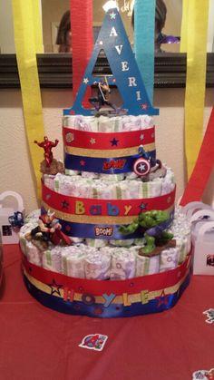 Avenger Diaper Cake for my son Averi! Marvel Baby Shower, Superhero Baby Shower, Boy Baby Shower Themes, Baby Shower Fun, Baby Shower Gifts, Baby Gifts, Baby Showers, Baby Shower Diapers, Baby Shower Cakes