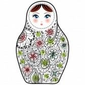 russian matryoshka : Matrioshka Babushka muñeca rusa boceto sobre fondo blanco. vector