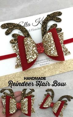 Beautiful, super sparkly and wonderfully made! I love this reindeer inspired hair bow. #christmas #hairbow #reindeer #ad