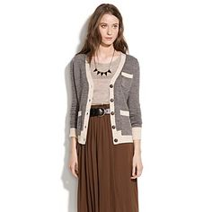 Herrinbone wool cardi with contrast trim and pkt detail