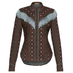 Longsleeved cowboy-inspired flannel blouse with decorative fringes running diagonally from shoulder to bust and across the back. Featuring piped edges along the collar, button placket and cuffs. Long Sleeve Maxi, Maxi Dress With Sleeves, Fringe Shirt, Oversized Blouse, High Waisted Pencil Skirt, Lace Bodysuit, Cotton Blouses, Printed Cotton, Women Wear