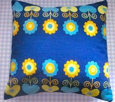Pomme de Jour Vintage Fabric Cushion Cover - 1970s Blue Scandi Flower Fabric. $26.00, via Etsy.