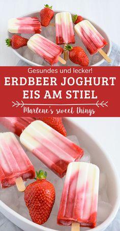 Erdbeer-Joghurt-Eis am Stiel Rezept ohne Zucker. Das erfrischendes Erdbeer-Joghurt-Eis am Stiel ist kinderleicht zu machen und schmeckt super lecker. das beerige Glace schmeckt Groß und Klein und ist schnell gemacht. Ice Ice Baby, Watermelon, Cereal, Food And Drink, Fruit, Super, Breakfast, Recipes, Desserts
