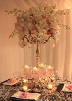 i like the idea of chandelier centerpieces