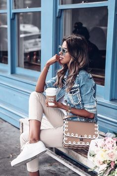 Pearl denim jacket & Fendi Kan Scalloped bag