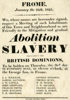 Slavery:was abolished throughout the British Empire as the Slavery Abolition Act of 1833 came into force, on this day 1st August, 1834. An estimated 770,000 slaves were freed