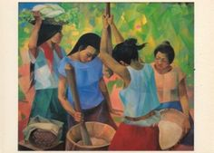 "Pounding Rice"" (1979), oil on canvas, 85 x 98cm, Carmelo and ..."