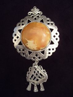 Latvian Brooch- O.Grins- Sterling Silver and Baltic Amber- Large