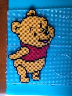 Winnie the Pooh perler beads by Kerry Lee Hama Beads Design, Diy Perler Beads, Perler Bead Art, Pearler Beads, Pony Bead Patterns, Pearler Bead Patterns, Perler Patterns, Beading Patterns, Hama Bead Boards
