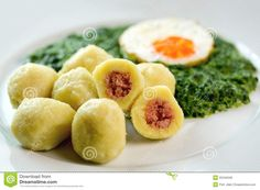Stuffed potato dumplings with smoked meat and spinach - Czech cuisine ...