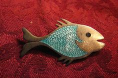 Cute vintage Mexican Taxco fish with enamel