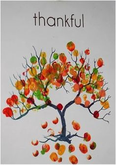 thankful tree, Thanksgiving decor, Thanksgiving projects, arts and craft ideas for Thanksgiving, painted thankful trees, thumbprint craft ideas