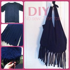DIY Tutorial: T-Shirt Refashion / No sew fringe Tshirt tote bag - Bead&Cord