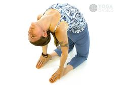 Photos, instructions, benefits, modifications and variations for practicing Camel Pose.