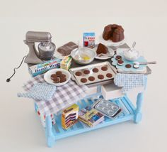 Sweet Petite Retro Blue Miniature Baking by SweetPetiteShoppe