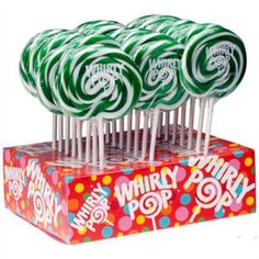 $2.99 Green & White Whirly Pops Swirl Pops  http://www.thecandycity.com/wholesale-bulk-candy/whirly-pops-green-and-white.html