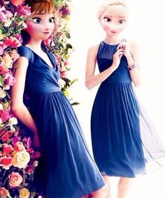 Anna and Elsa in bridemaids dresses?