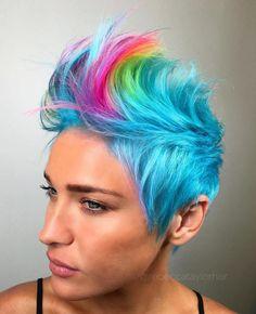 pastel blue pixie rainbow dash mohawk #hairdare