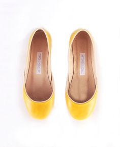 Yellow yellow...  upcycled leather ballet flats dark yellow par thewhiteribbon, $82.00